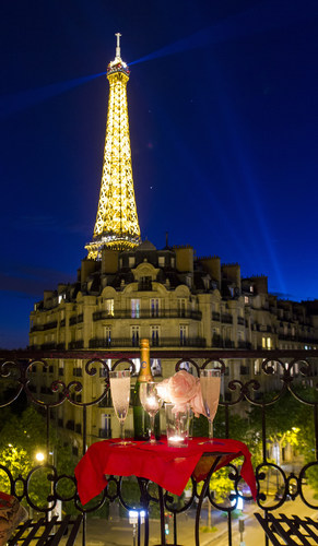 A magnificent Eiffel Tower view from the Paris Perfect Paris apartment rental in Champagne. (PRNewsFoto/Paris Perfect)