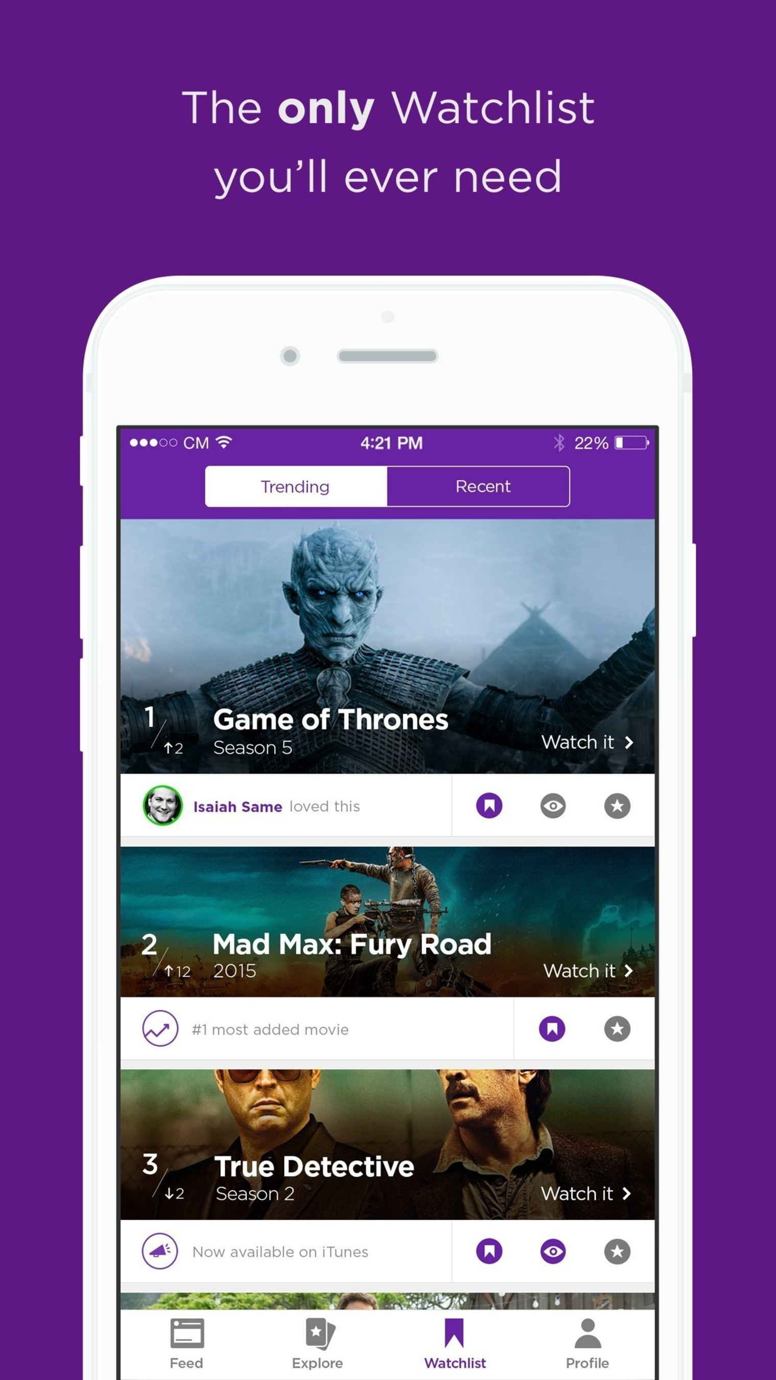 The Legit app helps users select movies to watch (or avoid) based on their friends' recommendations and ratings.