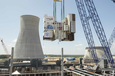 The Vogtle Unit 3 CA01 module, weighing more than 1,140 tons, is lifted into place Saturday, August 8 at the Vogtle nuclear expansion near Waynesboro, Georgia. It will house the two steam generators for Unit 3.