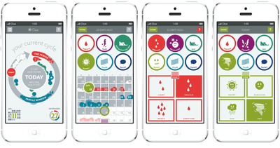 Clue quickly captures key information about a woman's fertile cycle and provides instant visual feedback to help plan and take control of her cycle. Clue features a fresh, clean design language and delivers a user experience that's optimized for the rapid capture of every aspect of the menstrual cycle. Most importantly, it learns about its owner's unique physiological patterns.  (PRNewsFoto/Clue)