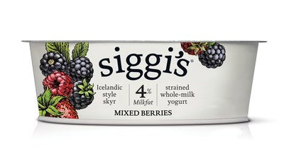 siggi's whole-milk yogurts are available in four delicious flavors - plain, vanilla, strawberry & rhubarb, and mixed berries - and contain more protein than sugar per serving.