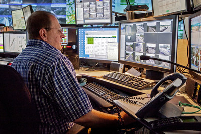 Transportation operator Robert Strauss uses traffic management software from IBM in the Command and Control Center at the New Jersey Turnpike Authority. The technology helps manage traffic and congestion on the New Jersey Turnpike and the Garden State Parkway, two of the most heavily traveled highways and busiest toll roads in the United States. (Credit: Mike McLaughlin/Feature Photo Service for IBM)