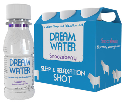 The Dream Water 2.5 ounce shot comes in two flavors, Snoozeberry (pictured, in a six pack) and Lullaby Lemon w/ Hints of Tea.  (PRNewsFoto/Dream Water)