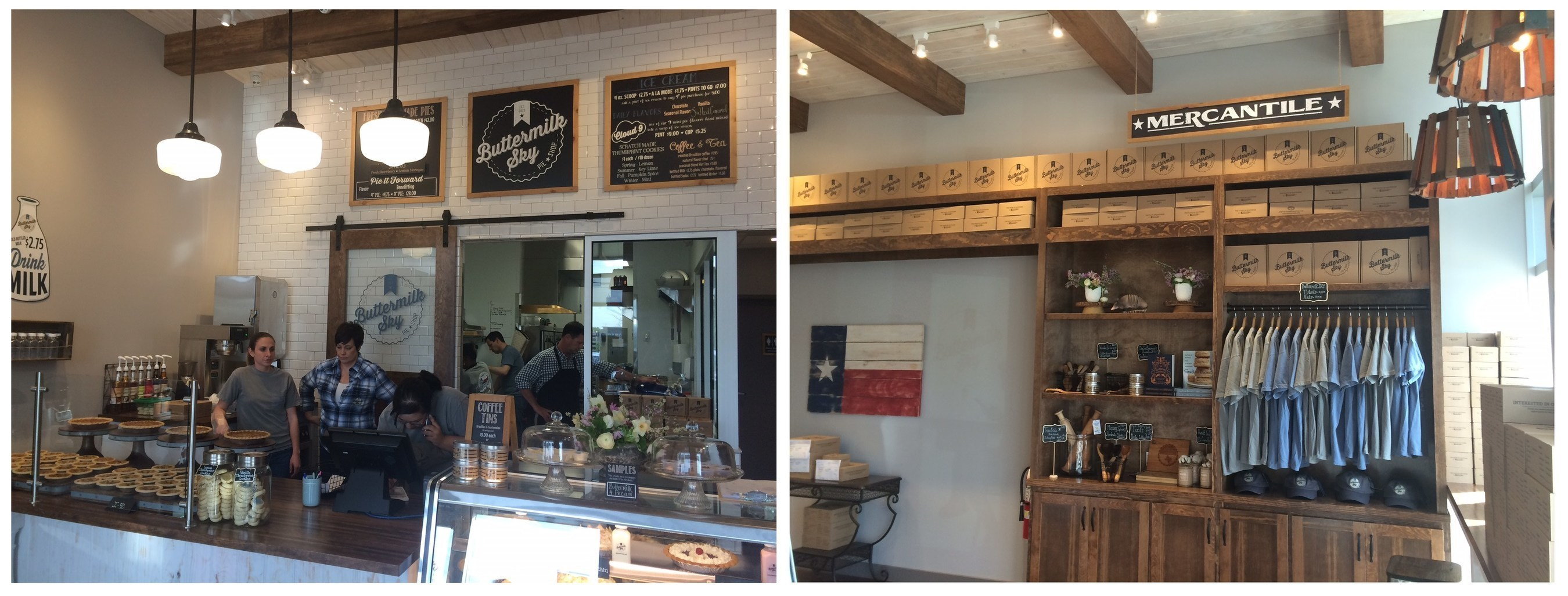 The store design for Buttermilk Sky Pie Shop, developed by Studio Four Design, is based on a southern traditional aesthetic to reflect the roots of the franchise owners Scott and Meredith Layton.