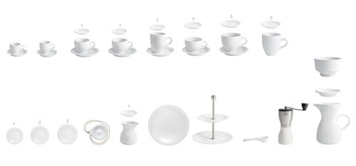 KAHLA porcelain - Cafe Sommelier overview - Cafe Sommelier is the first coffee porcelain that was completely developed in accordance with the standards of professional coffee connoisseurs and baristas. (PRNewsFoto/KAHLA_Thuringen Porzellan GmbH)