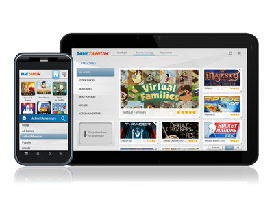 Exent's GameTanium Mobile(TM) Launches on Android Tablets.  (PRNewsFoto/Exent)