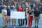 USTA Foundation President Dan Faber (L) meets John Coogan (C), Executive Director of The Folded Flag Foundation, and Peter Brual (R), Folded Flag Foundation Trustee, to present the $15,000 donation.