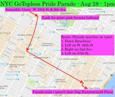 GoTopless Pride Parade in New York City to mark 9th Annual GoTopless Day on Aug. 28