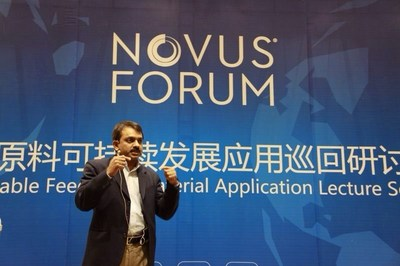 Ajay Bhoyer, Senior Global Poultry Marketing Manager at Novus, presenting at the Novus Sustainable Feed Raw Material Application lecture series in China (PRNewsFoto/Novus International, Inc.)