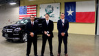 Texas Armoring staff after successful extreme product test. Left to Right, Lawrence Kosub (Sales Manager), Jason Forston (EVP/COO), and Trent Kimball (President/CEO)