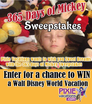 Pixie Vacations(R) has a full year of magic and surprises in store for guests with their 365 Days of Mickey Sweepstakes.  Guests can go to PixieVacations.com to enter for a chance to WIN a Walt Disney World(R) Vacation.  Every week in 2013 Pixie Vacations(R) will be giving away prizes and magical surprises so be sure to return and enter weekly.  (PRNewsFoto/Pixie Vacations)