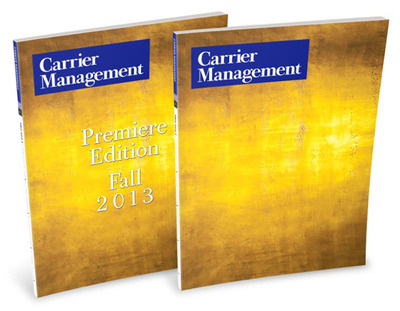 Carrier Management Magazine makes its arrival to property/casualty insurance executives with two distinctive gold covers. One with identifying text and one with only a logo. (PRNewsFoto/Wells Media Group Inc.)