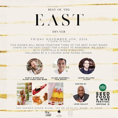 Perennial Strategy Group presents the Best of the East Dinner on Nov. 4, 2016 during the Seed Food and Wine Festival in Miami Beach. Perennial's CEO, Lamell McMorris, will co-host the premiere dinner party.