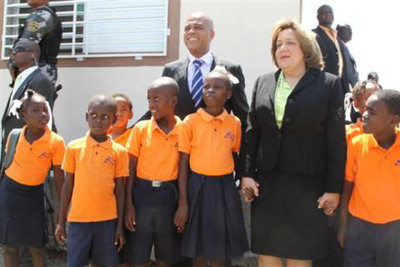 Haiti President Michel Martelly and First Lady Sophia Martelly at the Happy Hearts Fund School opening.  (PRNewsFoto/Happy Hearts Fund)