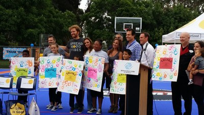 The children of the Boys & Girls Club of Long Beach thank Leah Remini, WorldVentures Foundation, Nancy Lieberman Charities, Life is Good and Sport Court at the grand opening of their new, state-of-the-art DreamCourt(TM)