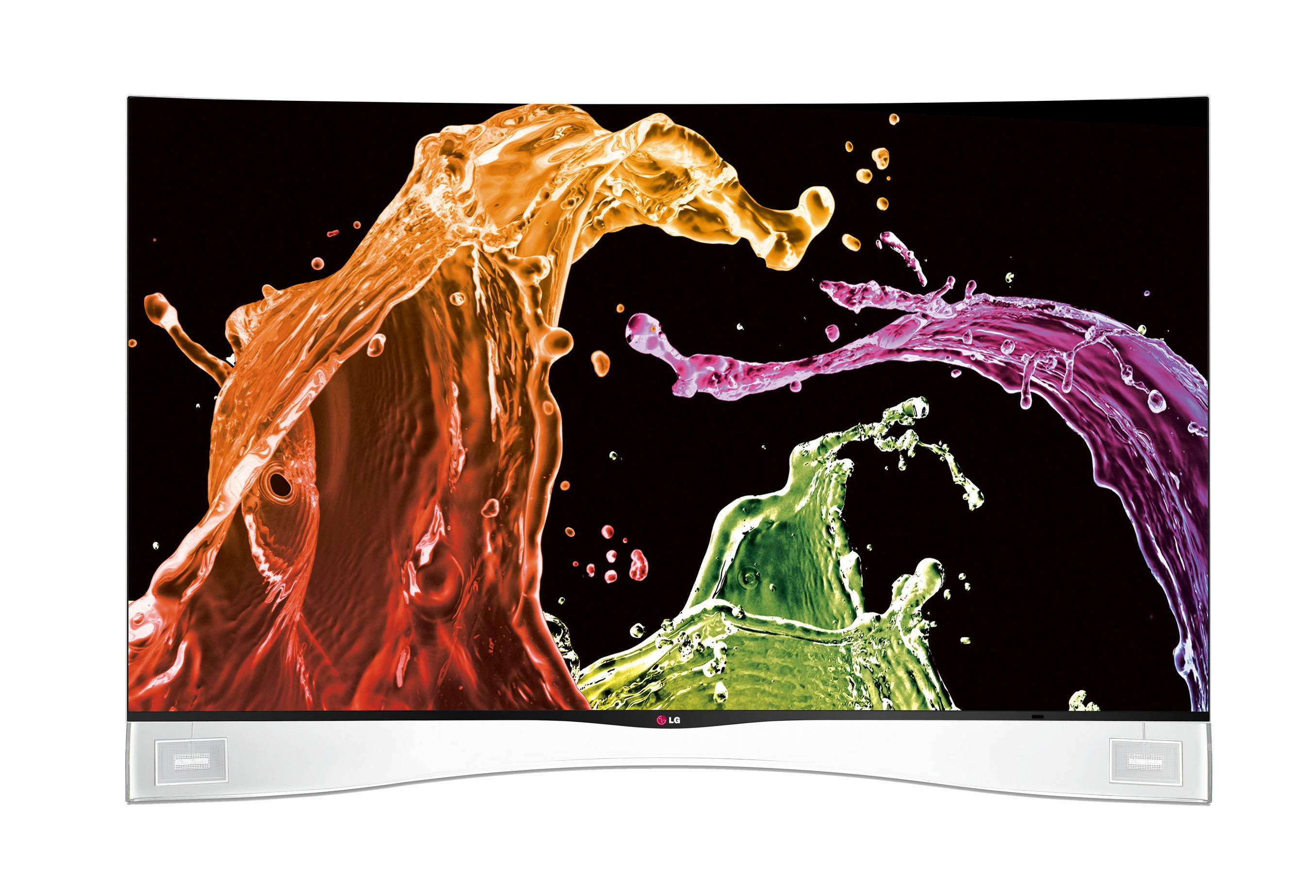The new LG CURVED OLED HDTV, the first of its kind in the U.S., goes on sale today. The new TV produces astoundingly vivid and realistic images thanks to LG's proprietary WRGB technology. The unique WRGB four-color pixel system features a white sub-pixel that works in conjunction with conventional red, green and blue pixels to create the perfect color output. LG's exclusive Color Refiner delivers even greater tonal enhancement, resulting in images that are more vibrant and natural than anything seen before.  (PRNewsFoto/LG Electronics USA, Inc.)