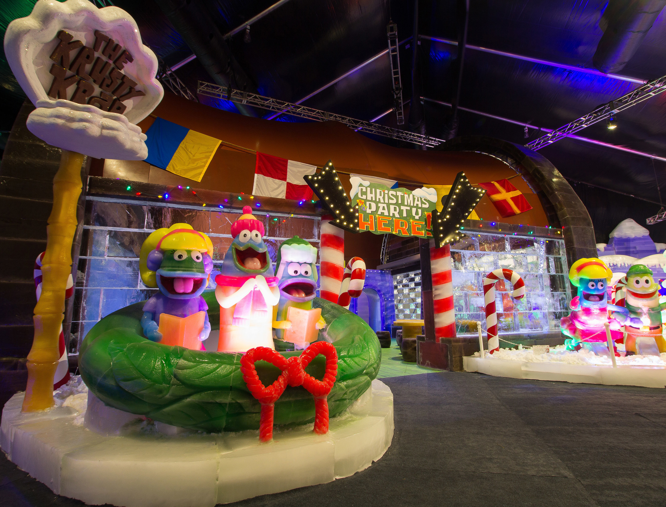 For the first time in the US, guests are able to enter the Krusty Krab made of ice at Moody Gardens ICE LAND: Ice Sculptures with SpongeBob SquarePants that opened Saturday in Galveston, TX