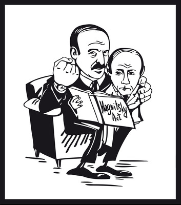Human rights groups employ cartoons to bring attention to Belarus. Cartoon created by US-based Belarusians in Exile, depicts Alexander Lukashenko advising Vladimir Putin to ignore the Magnitsky law, an anti-corruption legislation passed by Congress in December.  (PRNewsFoto/Belarusians in Exile)