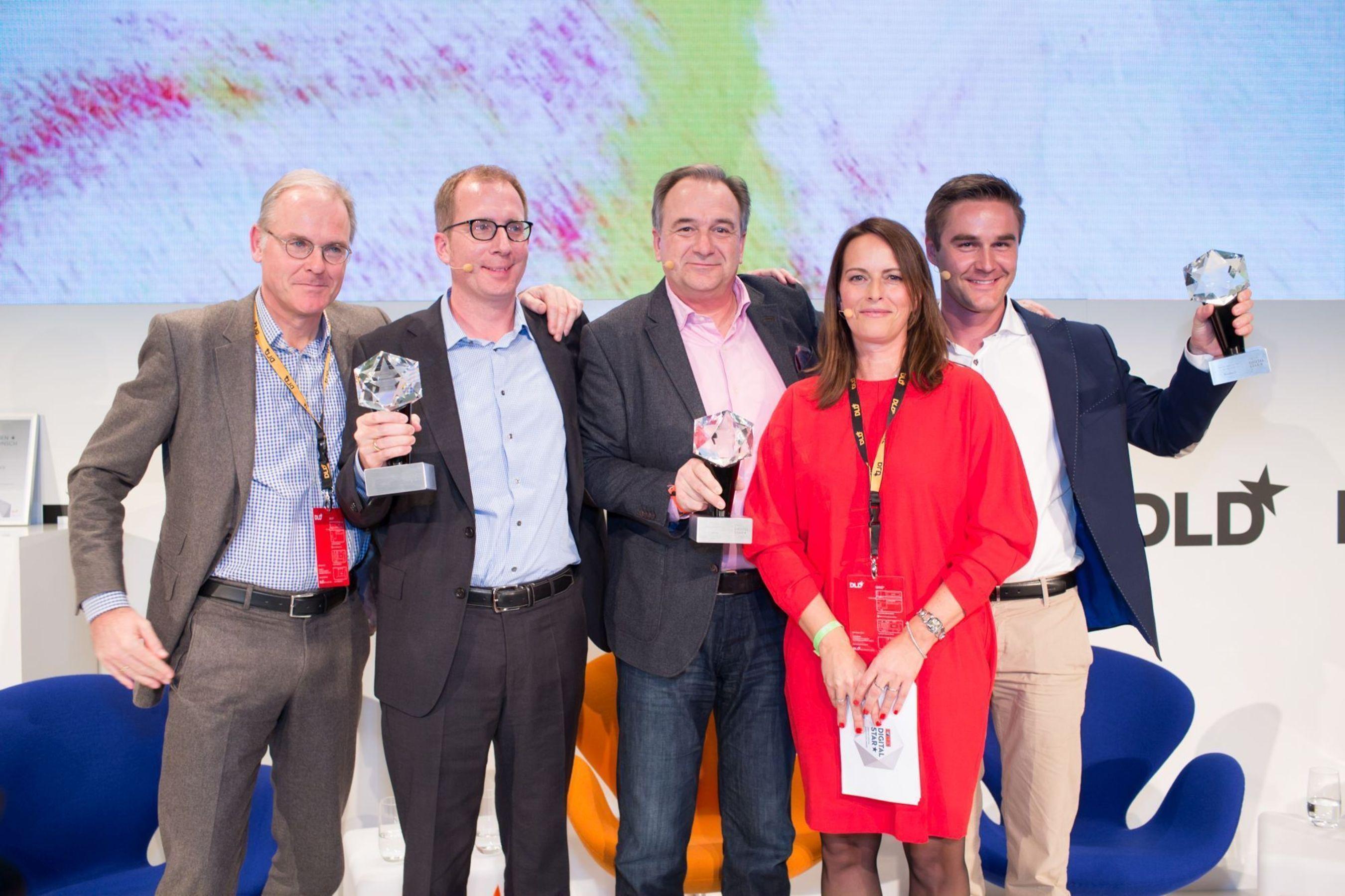 The Focus Digital Stars with editor in chief Ulrich Reitz and Susann Remke (PRNewsFoto/Hubert Burda Media)
