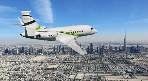 The new Falcon 2000S flying over Dubai