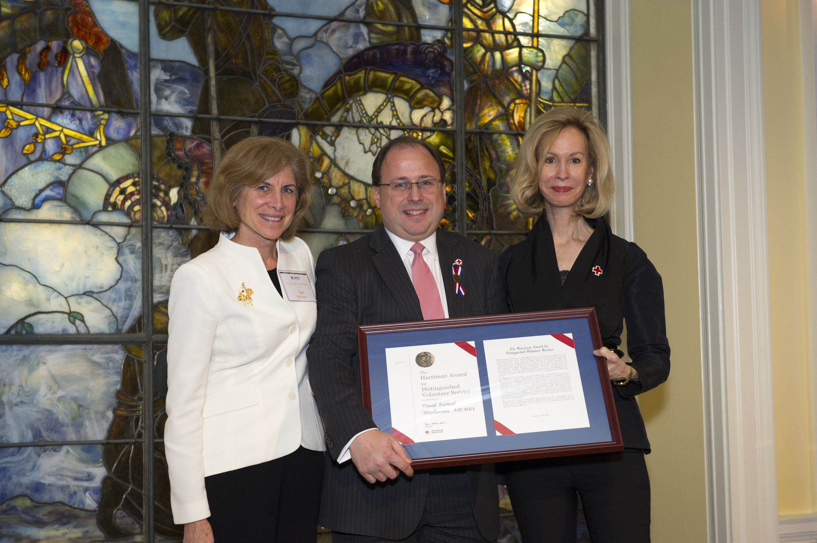 Dr. David Markenson (center) with Gail J. McGovern, CEO, American Red Cross and Bonnie McElveen-Hunter, Chair of the Board, American Red Cross.