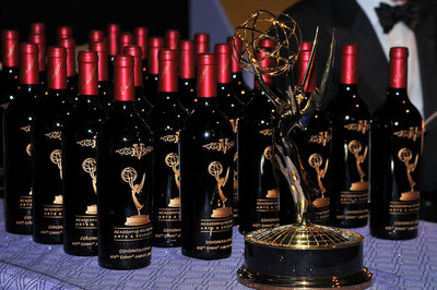 2009 Beaulieu Vineyard Georges de Latour Private Reserve Cabernet etched Emmy winner bottles on display with the iconic Emmy statuette.  (PRNewsFoto/Beaulieu Vineyard)