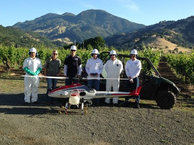 Members of the Yamaha Precision Agriculture team and a professional crop adviser and viticulturist with Silverado Farming Company in Napa Valley on Wednesday, May 18, for the inaugural commercial flight of Yamaha RMAX for agricultural spraying service in the U.S.