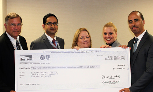 Leadership of CarePoint Health - Bayonne Medical Center with quality award check from Horizon Blue Cross Blue ...