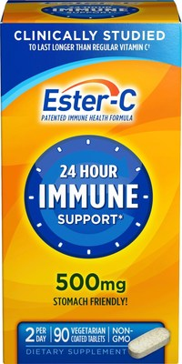 Ester-C(R) 500mg Tablets provide the support you can count on all day, every day. A daily dose of Ester-C(R) gets into your white blood cells, and stays there - for up to 24 hours, which is longer than regular Vitamin C. Plus, Ester-C(R) is manufactured without chemicals to neutralize pH, which means it's non-acidic and gentle on your stomach.