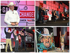 (l to r clockwise) Founder and CEO Gordon Logan opens Sport Clips Haircuts' recent National Huddle where company news and successes were shared, including the introduction of the franchises' first-ever Artistic Team. The Extreme Art of Jean Francois depicting Logan in his iconic cowboy hat, and NASCAR drivers Carl Edwards and Denny Hamlin, entertained the audience of more than 2,400 Sport Clips franchisees and their store managers, support team members, and partners.