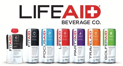 """LifeAID Beverage Co. is the leading manufacturer of premium, healthy and convenient nutritional products for different active lifestyles. LifeAID's line of """"better-for-you"""" beverages include FitAID, FocusAID, PartyAID, TravelAID, GolferAID, and the FitAID Fuel Pouch."""