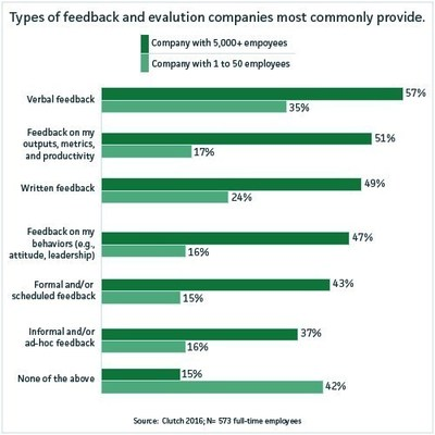 Types of feedback and evaluation companies most commonly provide