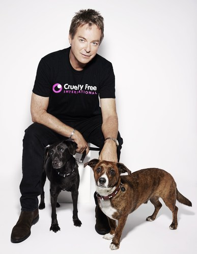 Julian Clary with Albert and Valerie by Rankin for the Cruelty Free International global campaign to end experiments on dogs (PRNewsFoto/Cruelty Free International) (PRNewsFoto/Cruelty Free International)