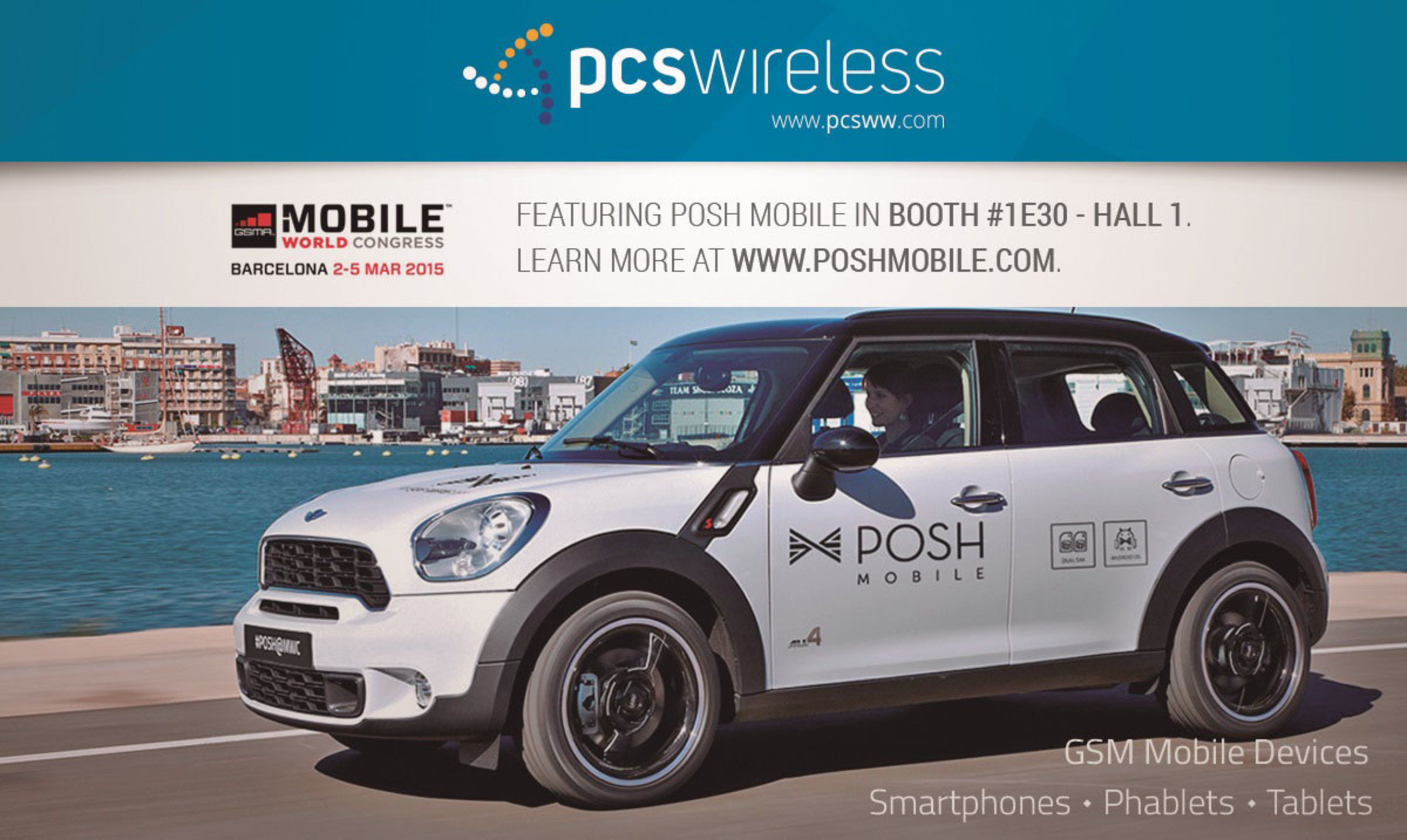 PCS Wireless Showcases New Posh Mobile Android Devices, Live Overstock Wireless Auction Site and Asset Recovery Solutions at MWC15