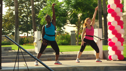 Jazzercise Instructors Sophia Hubbard and Kim McCulloch lead a Jazzercise fitness class on the San Diego State ...