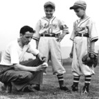 Little League Baseball Founder Carl E. Stotz, kneeling, with his two nephews, Major (left) and Jimmy Gehron, during the first Little League season in 1939, Williamsport, Pennsylvania. (PRNewsFoto/Little League Baseball(R)) (PRNewsFoto/LITTLE LEAGUE BASEBALL(R))