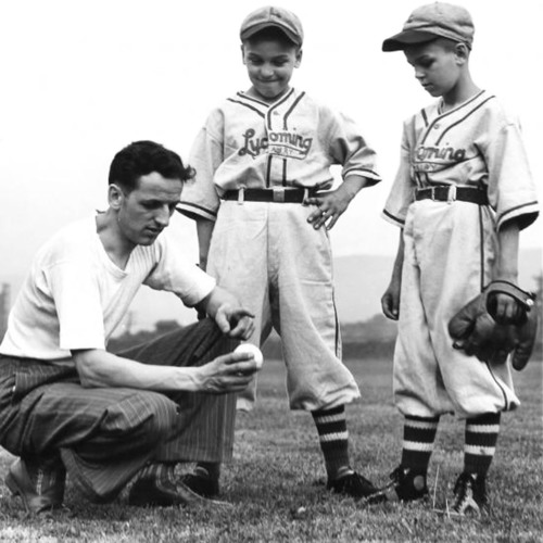 Little League Baseball Founder Carl E. Stotz, kneeling, with his two nephews, Major (left) and Jimmy Gehron, ...