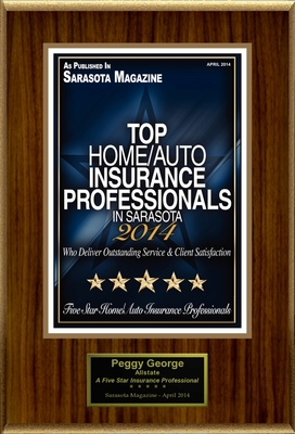 """Peggy George Selected For """"Top Home/Auto Insurance Professionals In Sarasota"""" (PRNewsFoto/American Registry) (PRNewsFoto/American Registry)"""