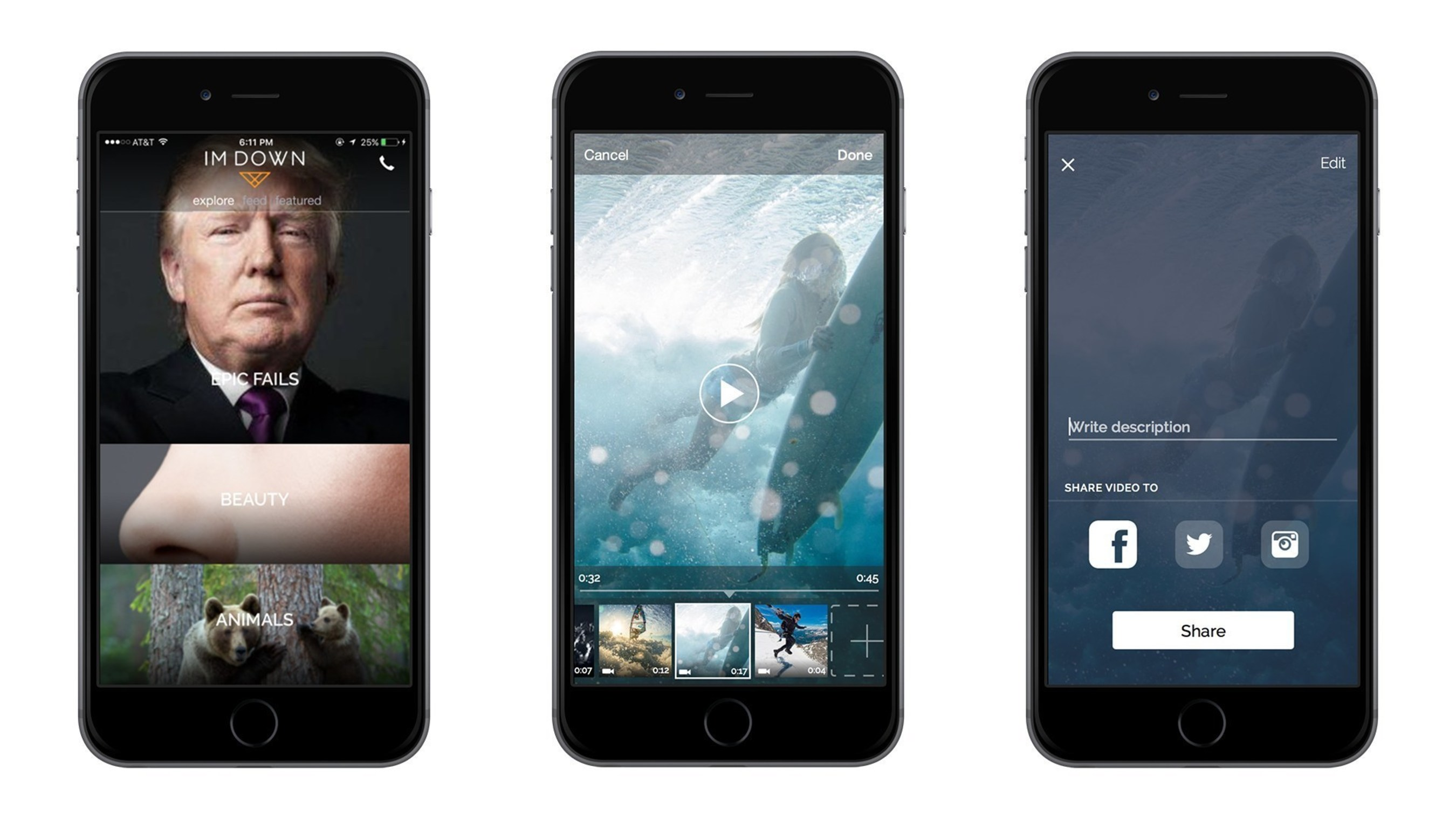 Upload and share meaningful stories in Full-Screen Vertical Video that are up to a minute long on imDown.