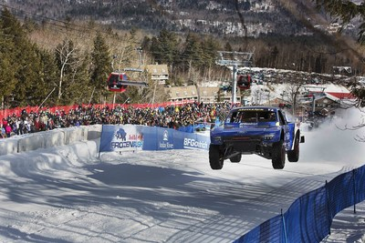 A new dawn of Motorsports with Off-Road Trucks racing head-to-head on Snow for Red Bull Frozen Rush at Sunday River Ski Resort in Maine.