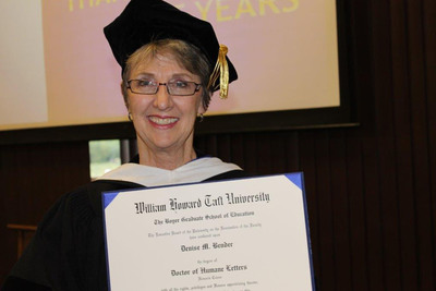 William Howard Taft University honors founder and past Executive Director of the Lemhi County Crisis Intervention/Mahoney Family Safety Center (LCCI/MH) - Denise M. Bender - with an Honorary Doctor of Humane Letters (D.Litt) for her social contributions and public service to victims of domestic violence in Idaho. (PRNewsFoto/William Howard Taft University)