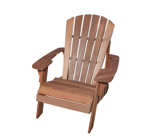 The Lifetime Adirondack Chair is constructed of UV-protected, simulated wood made from high-density polystyrene - a material that looks and feels like real wood. Unlike real wood, the simulated wood will not splinter, warp or rot, and never needs to be painted or varnished. The high-density polystyrene chair is lightweight, yet more durable than plastic that is commonly used for outdoor furniture. In addition, it is weather resistant, stain resistant and easy to clean - essential features in outdoor decor.  (PRNewsFoto/Lifetime Products, Inc.)