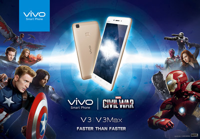 Cooperating with Marvel's Captain America: Civil War, Vivo furthered its global reach by promoting its newly launched flagship phones the V3 and V3MAX.