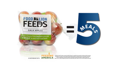 With the sale of each specially marked bag of apples, Food Lion Feeds will donate five meals to local food banks in partnership with Feeding America(R)