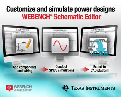 With TI's WEBENCH Schematic Editor, engineers can now add components and wiring to modify the power supply design, conduct SPICE simulations on the new circuit, and then export the modified schematic to a computer-aided design (CAD) platform.  (PRNewsFoto/Texas Instruments Incorporated)