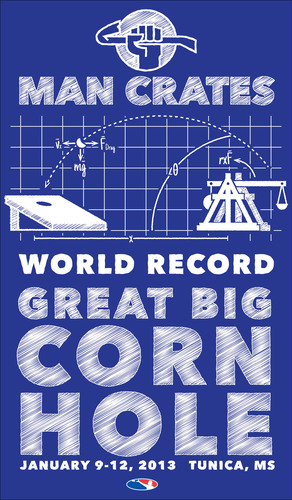 Man Crates World Record Cornhole this January 2013 in Tunica, MS.  (PRNewsFoto/ManCrates.com)