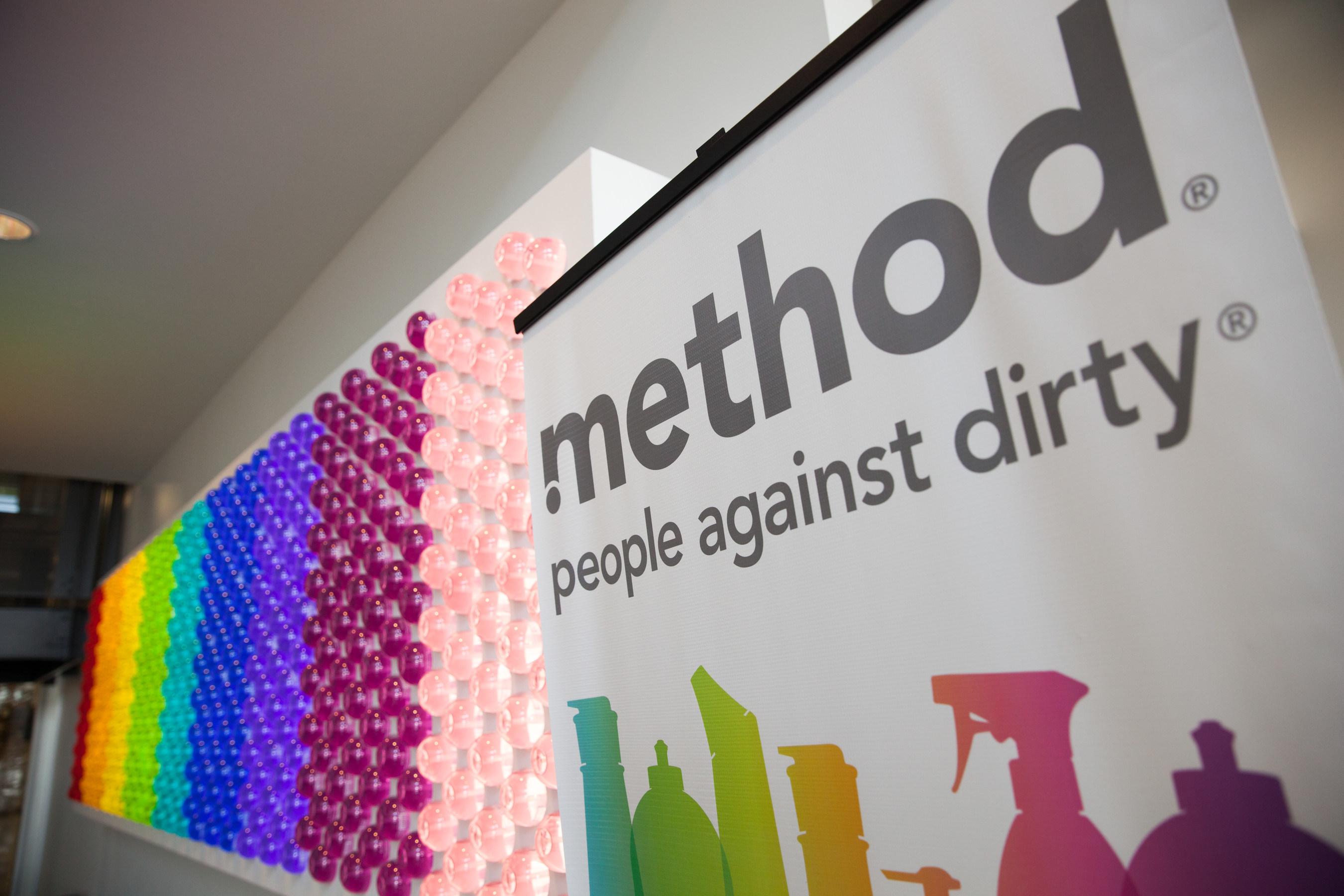 530 backlit Method bottles decorating the factory's lobby.