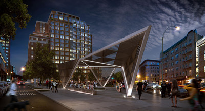The New York City AIDS Memorial will feature an 18-foot steel canopy as the dramatic gateway to the new St. Vincent's Hospital Park in the West Village neighborhood. For more information or to support the memorial, visit https://AIDSMemorialPark.org. Rendering: a2t for studio a i. (PRNewsFoto/New York City AIDS Memorial, a2t for studio a i) (PRNewsFoto/NEW YORK CITY AIDS MEMORIAL)