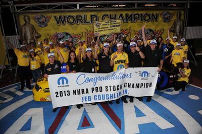 Jeg Coughlin Jr. earns his fifth Pro Stock world title to give Mopar back-to-back NHRA World Championships at 49th annual Automobile Club of Southern California NHRA Finals.  (PRNewsFoto/Chrysler Group LLC)