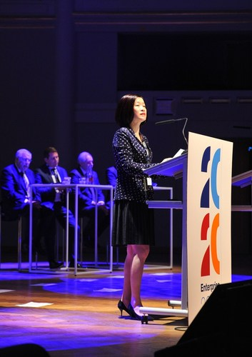 Huawei board director Ms. Chen Lifang at the Enterprise 2020 Summit in Brussels, Belgium (PRNewsFoto/Huawei) ...